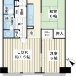 全室6帖以上の2LDK。10階部分の角部屋です。浴室、キッチンにも窓があります。(間取)