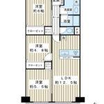 66平米超の3LDK。南東向き1階住戸。キッチンは人気のカウンターキッチンです。(間取)