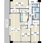 浦安市高洲1丁目。アルファグランデ新浦安。96.8平米の角部屋。(間取)