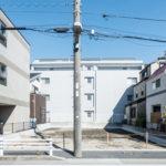 浦安市富士見3丁目新築戸建現場。2017年7月31日撮影。(外観)