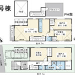 浦安市富士見3丁目新築戸建。2階建屋上バルコニー付き住宅。(間取)