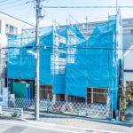 浦安市富士見3丁目新築戸建現場。2017年9月24日撮影。(外観)