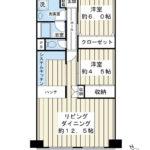 南西向き、2階のお部屋です。66.8平米の2LDK。
