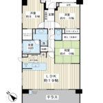 86平米超の3LDK。専用庭、テラス付き南西北西角部屋。(間取)
