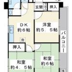 45.63平米 3DK 南東向き(間取)