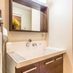 シャワー水栓付き洗面化粧台。
