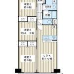 10階、南西向き、66.8平米。空室物件。(間取)