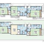 土地165.29平米(50坪)・建物130平米・軽量鉄骨造2階建・1Kx6室(間取)
