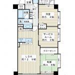62.5平米の角部屋。ペットと一緒に暮らせるマンションです(規約有)。(間取)
