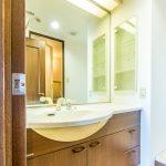 大きい鏡がある洗面化粧台。水栓は便利なシャワー水栓です。