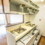 キッチンには換気扇の上部にも収納スペースがあります。(キッチン)