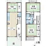 戸建感覚でお住まいいただけるRC造2階建のテラスハウス。オーナーチェンジ物件のため、室内の見学はできません。(間取)