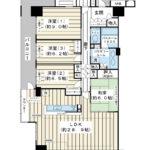 130平米超の4LDK。南東・南西・北西の三方角部屋。広いお部屋にお住み替えはいかがでしょうか。(間取)