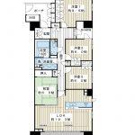 110平米超の4LDK。南東南西角部屋。空室なのでゆっくりと室内をご覧いただけます。(間取)