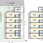 1Rx20室。駐車場1台。1991年1月築。RC造4階建てマンション。(間取)