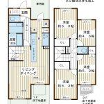 1階はパブリックゾーン、2階は4室のプライベートゾーンで構成されている、2階建てテラスハウスです。(間取)