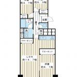 71.91平米の3LDK。浴室は近隣新築マンションと同じサイズの1418サイズを採用しました。(間取)