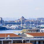 舞浜のマリーナ、テーマパークの山の向こうにあるゲートブリッジまで見えます。