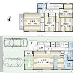 4LDK、カースペース2台(1台は小型車)。お子様にお部屋を作って上げられる家です。(間取)