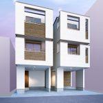 完成予想パース。浦安市北栄4丁目、ビルトインカースペース付き新築住宅へお住み替えはいかがでしょうか。(外観)