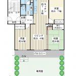 77.68平米の3LDK。全室6帖以上。南向き住戸です。専用庭付き。(間取)