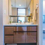 三面鏡付き洗面化粧台。鏡裏、洗面台下にたっぷりと収納できるスペースがあります。(内装)