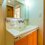 2008年2月洗面化粧台交換。三面鏡収納付き。水栓は便利なシャワー水栓です。(内装)