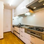 使い易いシステムキッチン。収納スペースが豊富にあります。(キッチン)