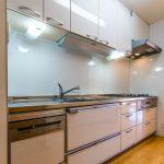 食洗機や浄水器一体型水栓など設備が充実したキッチンです。(キッチン)