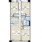 西向き角部屋。72.12平米の3LDK。リビング床暖房など設備充実。(間取)