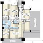 LDKは広々26.6帖。ルーフバルコニーは49平米もあります。玄関前のポーチは23平米あります。(間取)