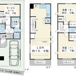 2階リビングの2SLDK。1階サービスルームの窓にはシャッターが付く予定です。(間取)