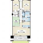 96.4平米の3LDK。全室6帖以上。階下に音の心配がない専用庭、テラス付き住戸です。(間取)