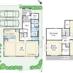 土地は約46.8坪。建物は37.6坪。木造2x4構造。収納スペースが充実した間取りプランです。(間取)