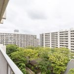 バルコニーからはマンション敷地内の緑地が見えて開放的です。