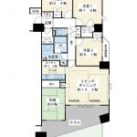 97.97平米の4LDK、角部屋。テラス、専用庭付き。空室物件。室内をゆっくりと見学できます。(間取)