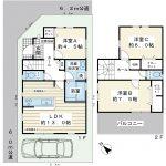 79.38平米の3LDK。1階に水周りが集中している家事動線を重視した間取りプラン。(間取)