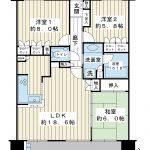 南西向き3LDK。83.43㎡。階下が住戸ではないお部屋です。(間取)