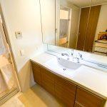 ゆったりと利用できる洗面化粧台。三面鏡収納など収納スペースが豊富です。(内装)