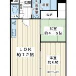 南東向き4階。49.88平米。2LDK。入居前の室内画像をご用意しております。(間取)