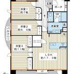 94.43平米の角部屋。ライフスタイルに合わせて4LDKへ変更できます(間取り変更には費用が必要)。(間取)