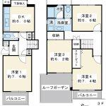 83.7平米の4DK。上階にルーフバルコニーがあるメゾネット住宅です。