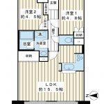 55.57平米。西向き。DINKSの方や広い家からのお住み替えにいかがでしょうか。(間取)