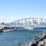 バルコニーから鉄橋を渡っていく東京メトロ東西線の電車が見えます。