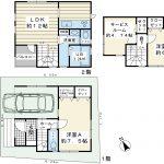 85.85平米の2SLDK。建物面積に車庫面積9.72平米含む。3階建て2階リビング。(間取)