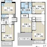 83.7平米の4DK。上階にルーフバルコニーがあるメゾネット住宅です。(間取)