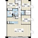 南東南西角部屋。現在3LDKですが、4LDKへ変更することができます(リフォーム費用が必要)。(間取)