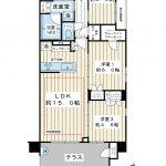 73平米超の3LDK、角部屋。専用庭付き1階住戸。(間取)