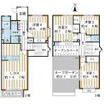 3階建て2階3階部分のメゾネット住宅。南・東・北に面した三方角部屋。(間取)