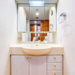 すっきりと収納できる三面鏡収納付き洗面化粧台。(内装)